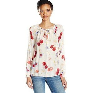 Lucky Brand Womens Floral Peasant Long Sleeve Top